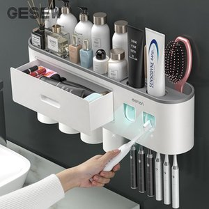 Gesew Diş Fırçası Tutucu Banyo için Çok Fonksiyonlu Diş Fırçası Tutucu Diş Macunu Sıkacağı Ev Banyo Aksesuarları Seti