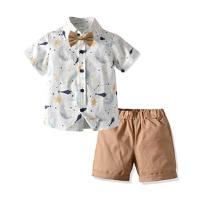 Childrens Cotton Short-Sleeved Cartoon Shirt Shorts Collar Three-Piece Small and Medium Boys Summer Beach Vacation Suit