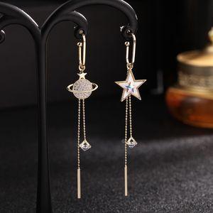 925 Sterling Silver Asymmetric Earrings For Women Trendy Bijoux Rhinestone Pentagram Earth Planet Tassel Earring Hot Christmas Gifts