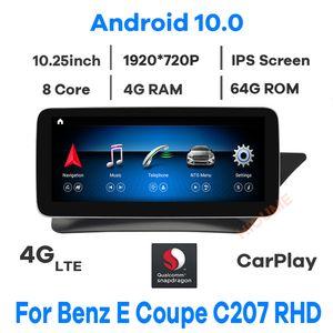 "10.25 ""Snapdragon Android 10 Multimedia Player GPS Radio para Mercedes Benz e-Class de duas portas Coupé C207 W207 A207 Rhd Cars"