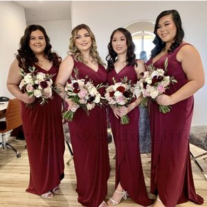 Burgundy Chiffon Bridesmaid Dreses 2021 New A Line V Neck Pleats Long Maid of Honor Gowns Plus Size Evening Prom Dress Cheap