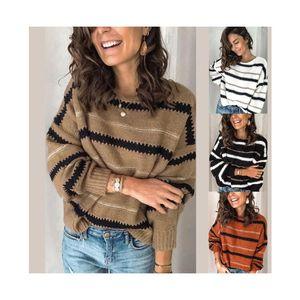 Женские женские зимние теплые свободные круглые шеи с длинным рукавом пуловерное свитер верхняя одежда