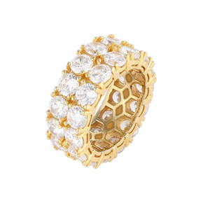 Mens Zeimax Gold Rings Jewelry New Fashion Gold Silver Ring Simulation Diamond Iced Out Ring Mix size