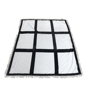 Plaid Sublimation Blanks Blanket With Tassels 9 15 20 Grids Mat Heat Transfer Printing Nap Sofa Blankets sea shipping