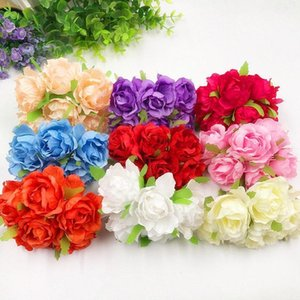 6 PCS (5 cm flower) people rose bouquets of flowers in the silk cloth wedding wreath of DIY gift box tire home garden decoration1
