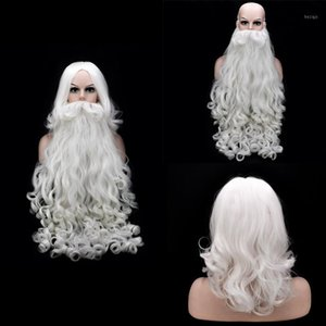 Christmas Cosplay Perruque Beard Santa Claus Blanc Curly Long Hair Synthétique Adulte Halloween Cosplay Costume Christmas Cadeau de cadeau de Noël Play1