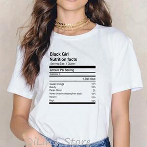 Женская футболка забавная черная девушка питание факты графические футболки женщины афро карта печать меланин королева рубашки живет материи футболка летнее