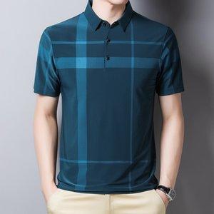 Gelo dos homens Silk Manga Curta 2021 Verão Fino Moda Lazer Pólo Camisa Versátil Fit T-shirt para meia-idade e jovens