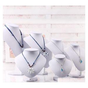 White PU кожаные шеи шельфа моделей ожерелье подвесной держатель манекен бюст ювелирные изделия дисплей стенд шоу хранения стойки ogixp