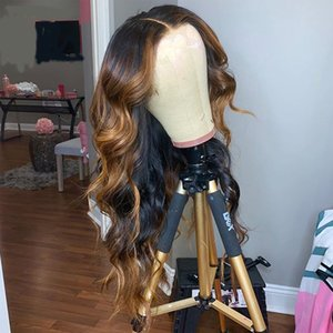 Remy 13x4 6 Transparent Lace Front Wig Water Wave Ombre Brown Highlight U Part Wig Preplucked With Baby Hair Bleached Knots