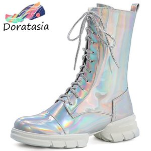 DORATASIA New Women Brand Flat Platform Shoes Low Chunky Heels Boots Women Fashion Metallic Ankle Boots