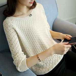 White Hollow Out Sweater Women Casual Knit Base Sweater Long Sleeve O Neck Fashion Loose Elegant Slim Sweater Female Tops 4xl