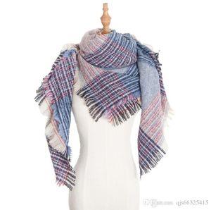 40 Colors Women Plaid Scarves Grid Tassel Wrap Oversized Check Shawl Winter Neckerchief Lattice Triangle Blanket Scarf China wholesale free