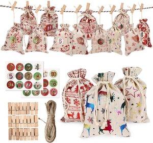24pcs / set decorativa de Natal pequeno pano sacos pendurados Advent Calendar Natal Algodão Linho Bag Set Presente de Natal Bolsas