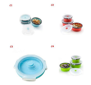 Silicone Collapsible Portable Lunch Box Microwave Oven Bowl Round Folding Bento Box Eco-Friendly Food Storage Container Bento Box 224 36