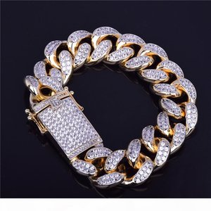 18mm Men's Chunky Iced Out Zircon Miami Cuban Link Bracelet Bling Hip hop Jewelry Gold Silver CZ Cuban Chain Bracelet 20cm