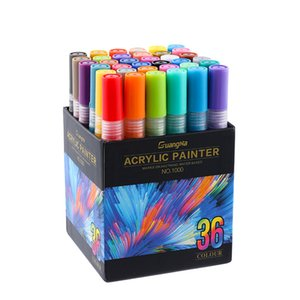 Guangna Water-Based Acrylic Marker 1000 Body Painting 36 Color Ceramic Decoration Black Card Graffiti Craft Pen 201116