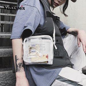 Малая площадь Сумка женская PVC Transparent мешки плеча Hip-Hop Clear Jelly Сумки Мужчины Женщины Harajuku девушки Mini Travel Chest сумка C1026