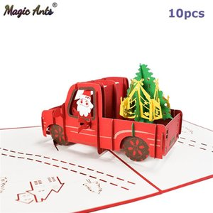 10 Pack Happy Holiday 3d Christmas Cards -up Pickup Truck New Year Cards Merry Xmas Greeting Wholesale Supplier