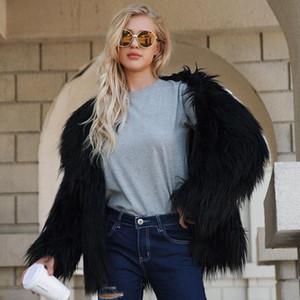 Elegante Cappotto caldo di inverno Donne Shaggy Faux Fur maniche lunghe Outwear Streetwear Abbigliamento Donna artificiale pelliccia del cappotto del rivestimento 3XL