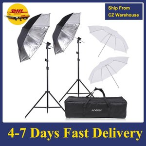 Lighting & Studio Accessories Andoer Camera Flash Speedlight Soft Umbrella Kit 2 * 2m Light Stand +2 83cm Translucent White For