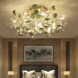 PostModern Crystal Light Простой светодиодный потолочный светильник гостиной круглый светодиодный хрустальный лампа спальни для спальни керамический цветочный потолок для дома