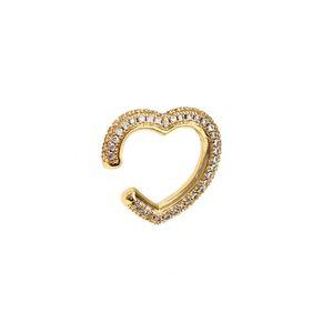 Ear Clip on Earrings Cuff Heart Heart CZ Gold Color Earring Full Crystal Ear Cuff Jewelry Aretes Non Pierced Earring