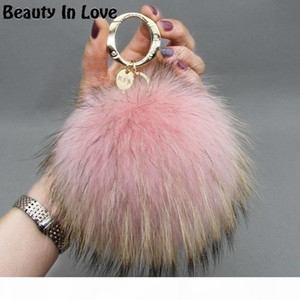 Big 15cm Fluffy Real Fox Pom Poms Fur Pompom Ball High Quality Keychain Car Key Chain Metal Ring Pendant For Women F281 C19011001