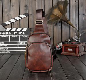 Vintage diagonal cross bag chest bag mens PU leather shoulder Drop Shipping Good Quality