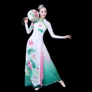 Этап Dance одежда Китайский танец с веером костюма Древнекитайская костюма Folk платье Performance Традиционные TA2133