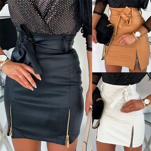 Sexy Women Black Pu Leather Pencil Bodycon Skirt Clubwear Double Zipper High Waist Mini Short Skirt Belt Black White Khaki