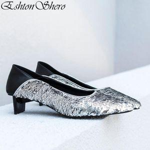 EshtonShero Summer Women's Shoes Woman Pumps Sequins+PU Low Heels Pointed Toe Bling Fashion Ladies Wedding Shoes Size 3-8