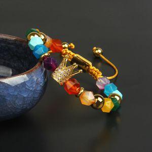 Full Diamond Crown Bracelet Atacado Mistura 8mm Faceted Corte Pedra Natural Grânulos Rei Crown Braceletes Cura Ansiedade Alívio Jóias Para Amante