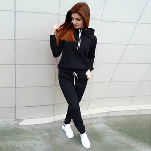 Solid Color Hoodie Sets Zipper Lounge Wear Sport Sweatshirt Set Women Tops+pants Leggings Pants Fitness Suit