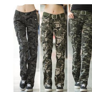 Women Workout Casual Military Camouflage Cargo Jeans Pants Denim Overalls Ladies Straight Multi-pocket Trousers Pantalon Femme 201022