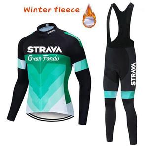 Strava Cycling Jersey 2020 Hiver Thermique Thermone Thermone Set de vélo Ropa Ciclismo Vêtements de vélo en plein air1