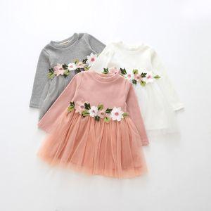 Baby girls Lace Tulle long sleeve dress Children Mesh Tutu princess dresses Spring   Autumn Boutique Kids Clothing 3 colors Flower Girl Dr