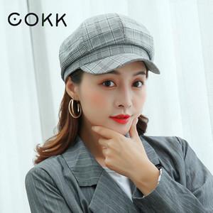 Cokk coton octogonal Hat Femme coréenne Fashion Plaid peintre britannique Cap Cokk coton marchandises moitié prix Off Swy bbyexR nana_shop