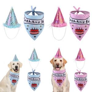 Haustier Katze Hund Happy Birthday Headwear Hut Saliva Handtuch Lätzchen Party Kostüm Pet Birthday Feiern Anzug Kleidung 16 G2