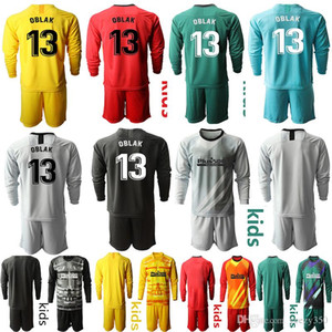Kids Long Sleeve Soccer Jerseys 19 20 Atlético de Madrid #13 OBLAK Soccer kids KIT sets uniformHome Away KIT sets uniform Shirt