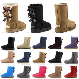 2021 nuevas mujeres botas de nieve clásica tobillo piel corta bota de invierno negro castaño fresco gris mujeres damas niña botines de moda tamaño exterior 36-41