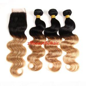 Hot! Ombre Brazilian Hair 3 Bundles With Closure Ombre Human Hair Body Wave 3 pcs With Lace Closure Cheap Human Hair For Women
