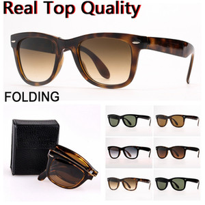 Óculos de sol femininos dobrando os óculos de sol dos homens dos homens das mulheres dos óculos de sol com lentes de vidro UV400, estojo de couro dobrável e pacotes de varejo!