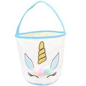 Ostern Glitter Unicorn Basket Bunny Bags Plüsch Pom Pom Cartoon Leinwand Einkaufstasche Kinder Ei Süßigkeiten Handtasche Barrel Eimer Lla126