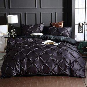 15 3pc pitada plissada tampa de edredão com fecho de zíper, preta Pintuck Pinch Pattern Bedding Coberter COBRETER SET1