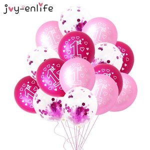 10pcs Pink 1st Birthday Balloon One 1 Year Old First Happy Birthday Party Decoration Latex Ballons Globos Baby Shower Girl Favor jllrwT