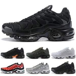 New Black stripes blue vamp TN Plus Olive In Metallic White Silver Mens Womens Kids Running Shoes designer Sport Sneakers