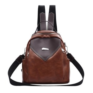 New arrival women PU Leather backpack Two-tone design large capacity traveling bags college student school bags lady shoulder bags