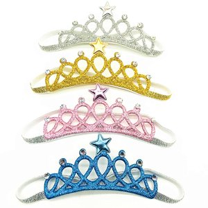 6colors Newborn Crown Baby headbands, Gold Silver Hairbands for baby girls, newborn Toddler headbands, Hairbands Party Favors Baby Shower