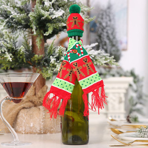 Nova malha Scarf Botão Wine Bottle Capa enfeites Gingerbread Man Árvore do floco de neve Cachecol Hat Tampa DWE2858